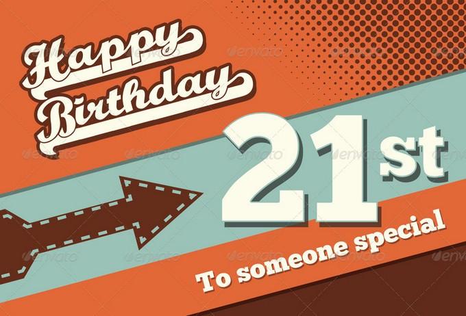 Retro Happy Birthday Card V1