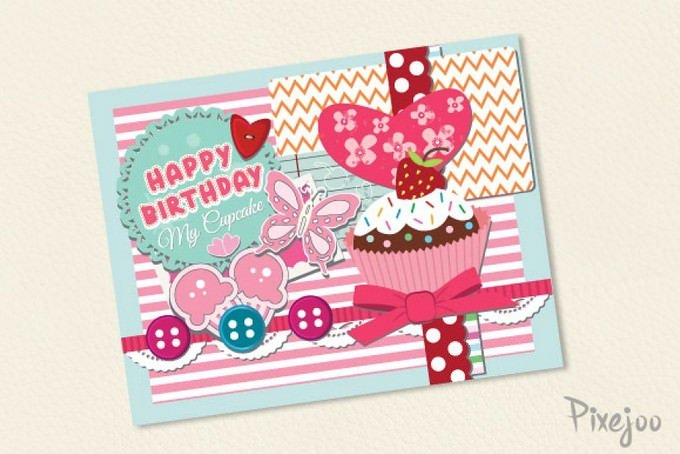 Scrapbook Happy Birthday Card