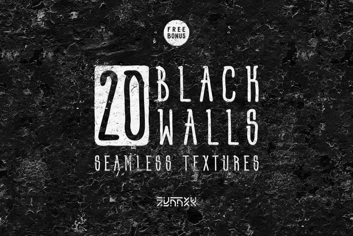 20 Black Walls Seamless Textures