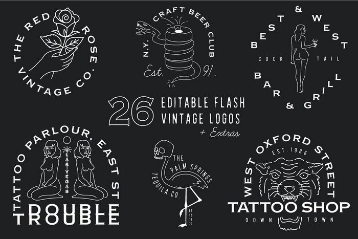 Hipster Flash Logos + Extras