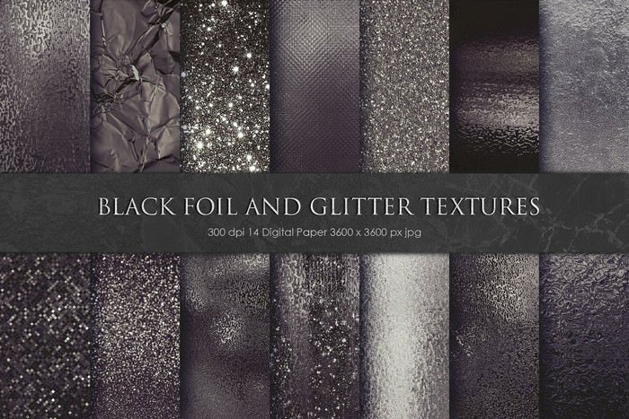Black Foil and Glitter Textures