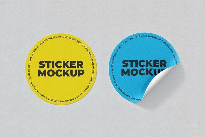 Circle Sticker Mockup Template 4000 × 3000 px PSD