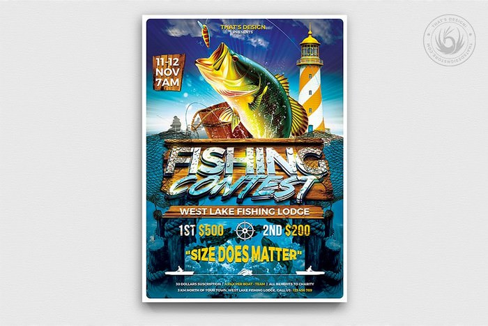 Fishing Contest Flyer Template Premium