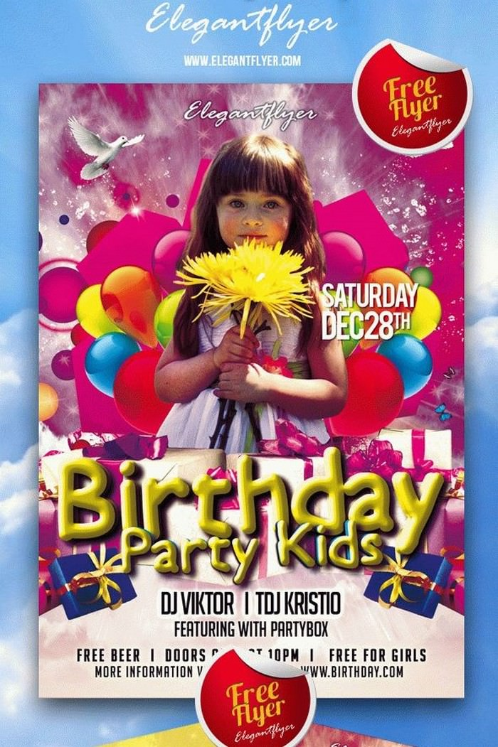 Birthday Party Kids Poster Template