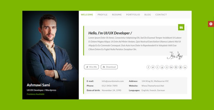 Riche vCard Personal vCard HTML Template