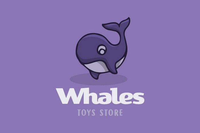 Whales Cartoon Logo