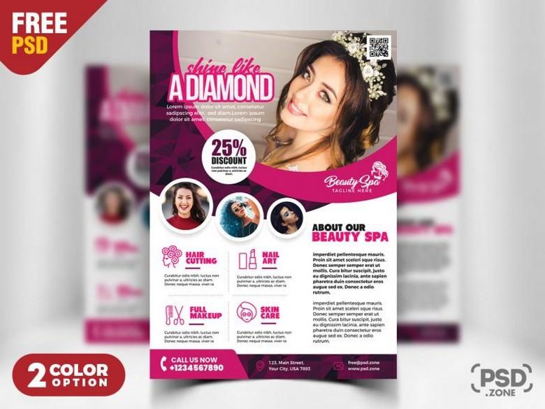 A4 Size Stylish Beauty Salon Flyer Template PSD