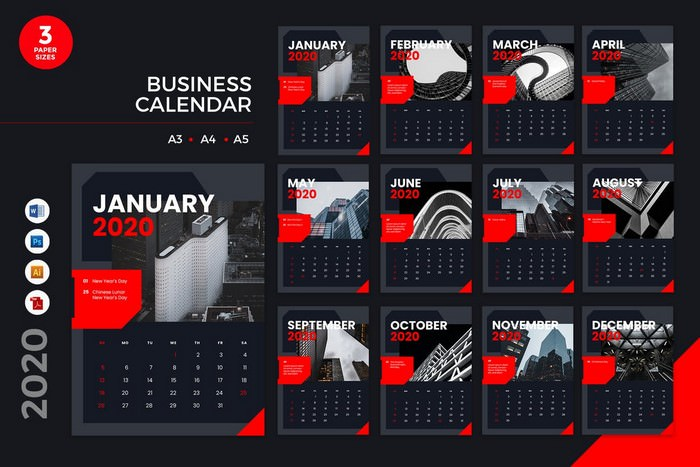 Business Calendar PSD