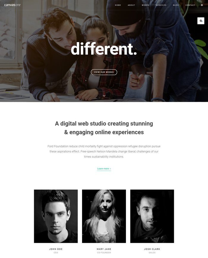 Canvas One Page HTML5 Template
