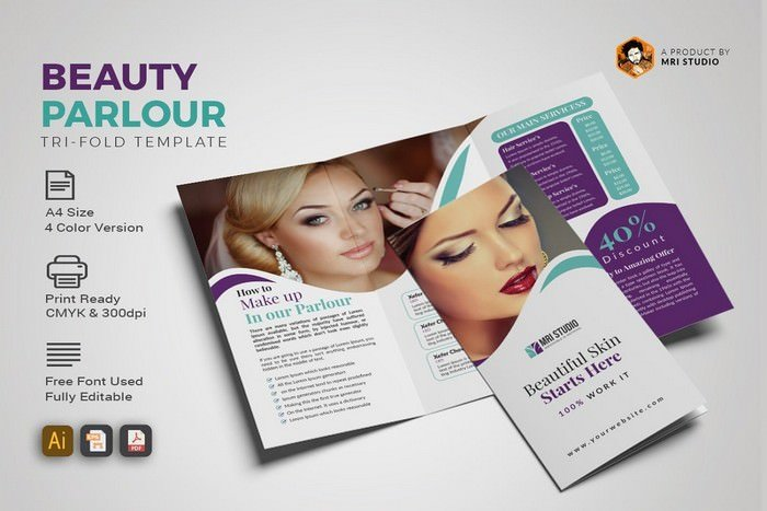 Creative Beauty Parlour Trifold Brochure