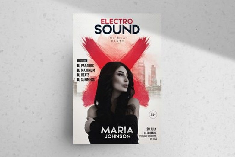 Electro Sound – Free Party PSD Flyer