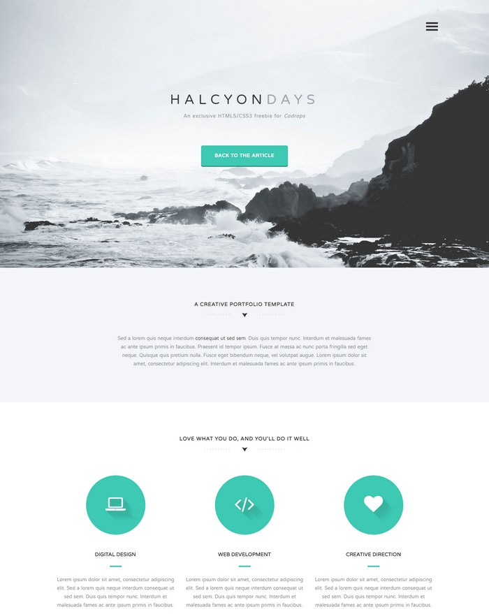 Freebie Halcyon Days One Page Website Template