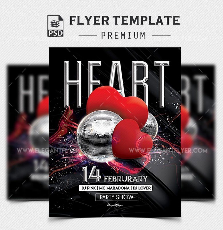 Heart Party – PSD Flyer Template