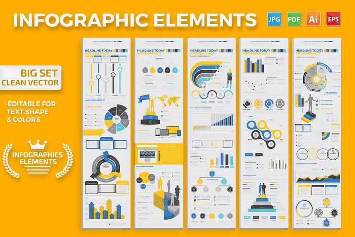 Infographics Elements Big set Vector