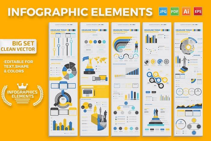 Infographics Elements Big set Vector