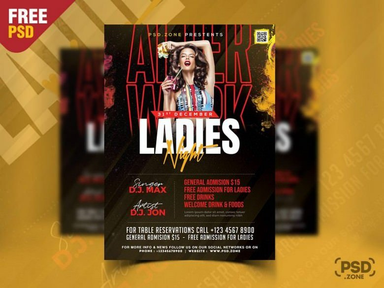 Ladies Night Party Flyer PSD