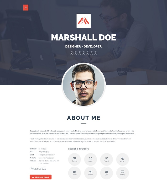 MD - Resume PSD Templates