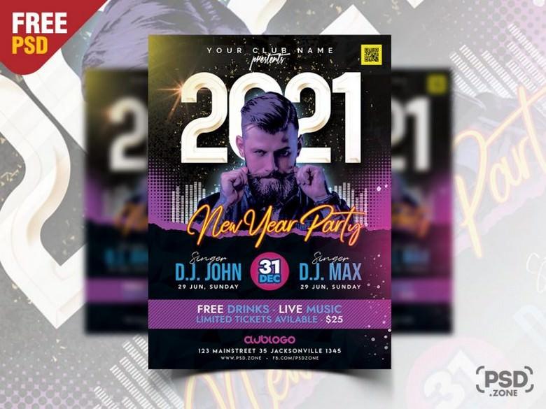 New Year Party Celebration Flyer PSD