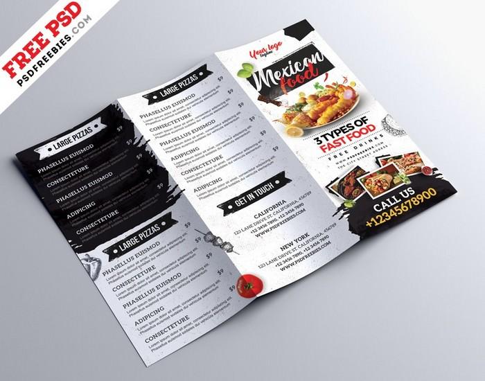 Restaurant Cafe Menu Tri Fold Brochure PSD