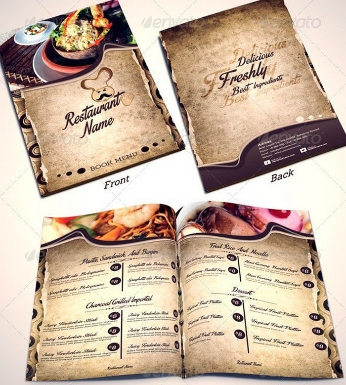 Restaurant Menu Templates Front-2 Middle-Back