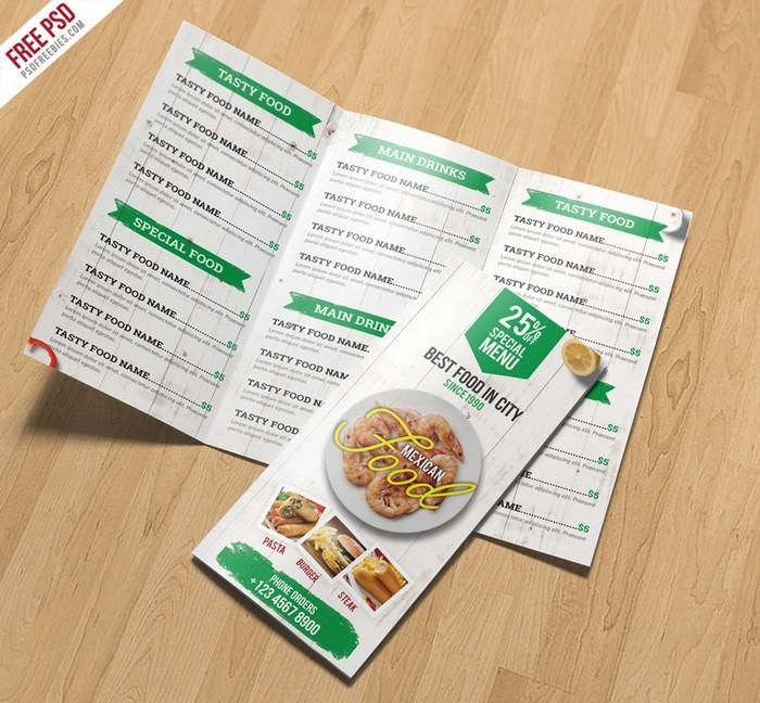 Restaurant Menu TriFold Brochure PSD