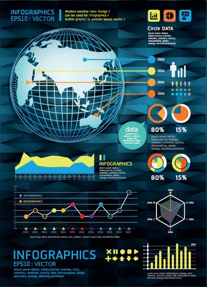 Set Of Year Infographic And Diagram Vector Material