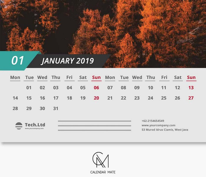 Simple and Clean Calendar Design Template Printable