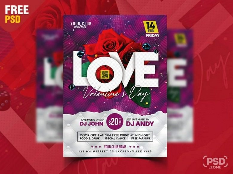 Valentine's Day Special Party Flyer PSD