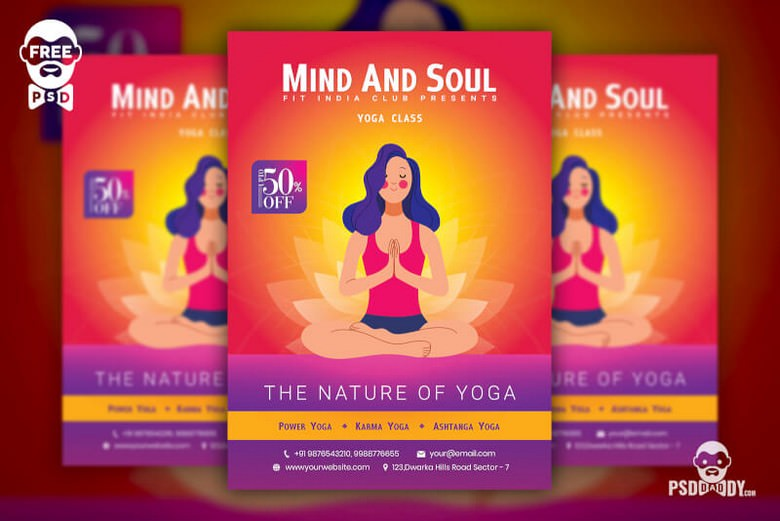 Yoga Class Flyer Free PSD Template