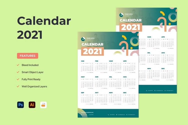Abstract Line Calendar 2021