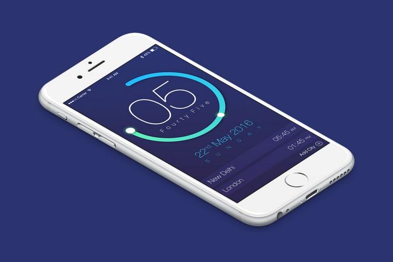 Clock App UI Design PSD