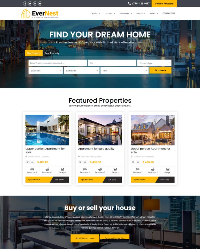 EverNest - Real Estate HTML Template