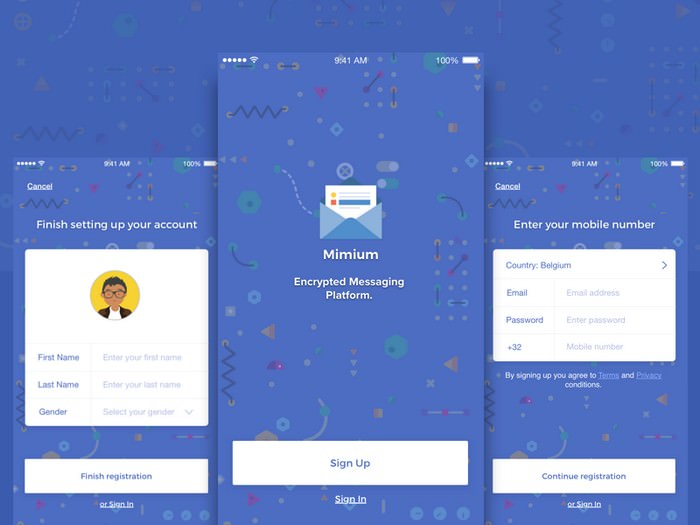 Mimium Messenger App UI Sketch Template