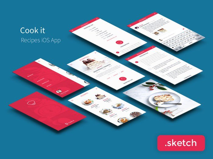 Recipes App UI Kit Freebie