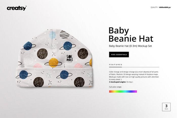 Baby Beanie Hat PSD Mockup