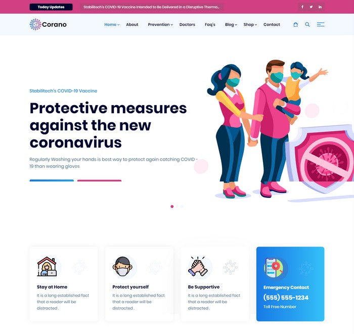 Corano - (COVID-19) Coronavirus Awareness HTML Template