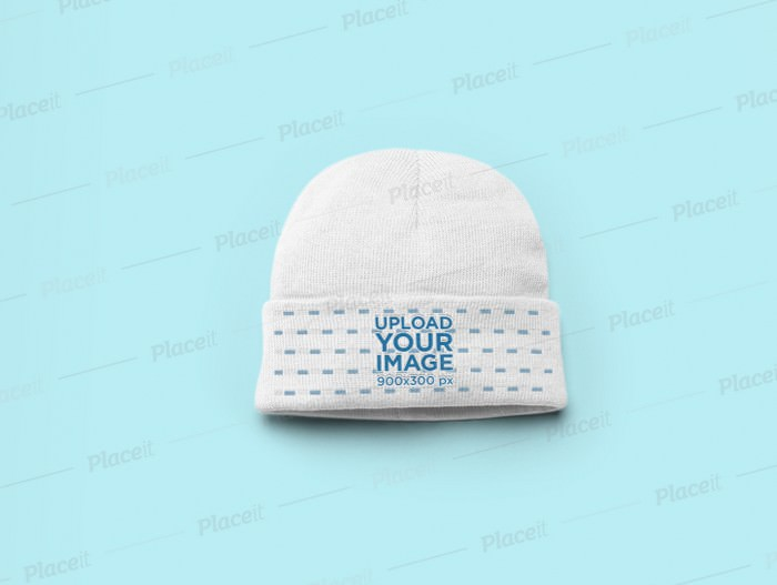 Flat Lay Beanie Mockup with a Solid Background