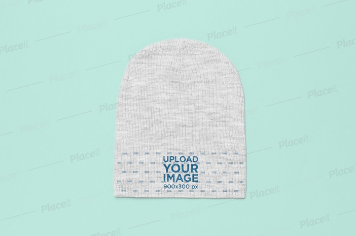 Flat Lay Heather Beanie Mockup