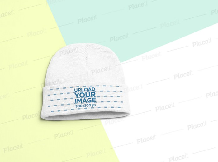 Flat Lay Mockup of a Short Beanie