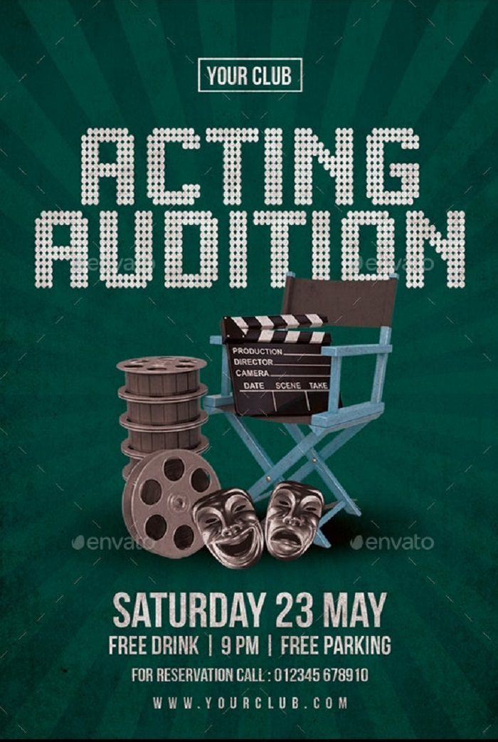 """Fully editable Acting Audition Flyer 4×6"""""""