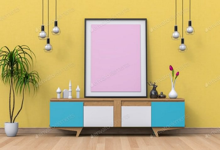 Interior living Room with Blank Poster Mockup