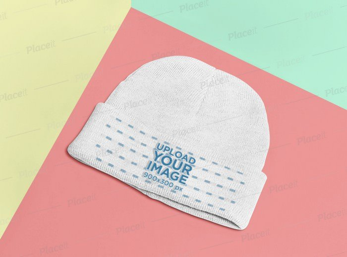 Mockup of a Beanie Lying on a Flat Surface