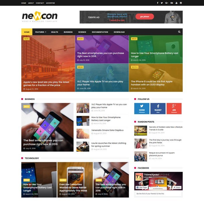 Newcon News Responsive Blogger Template