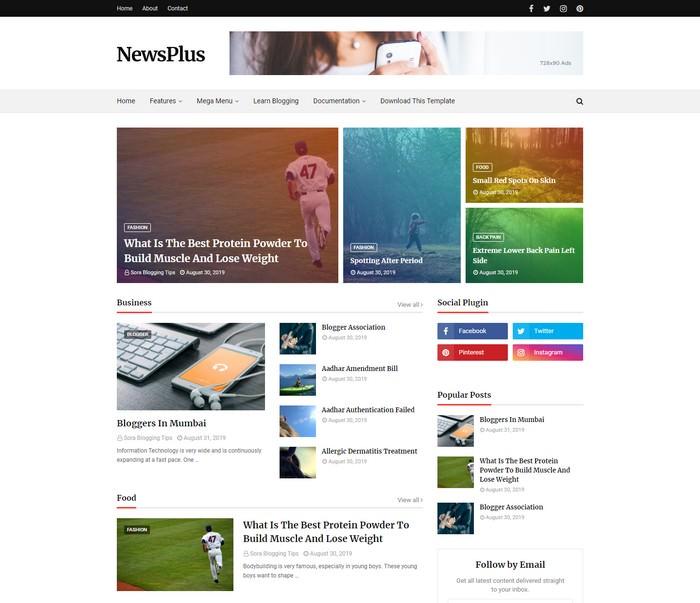 Newsplus Blog Magazine Blogger Template