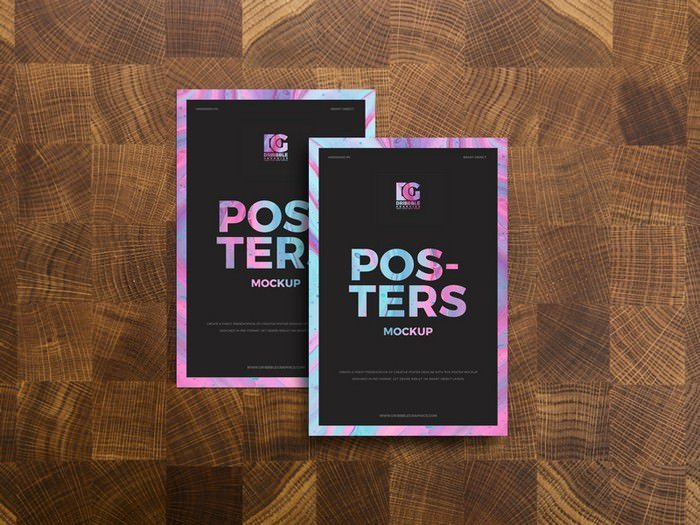 Posters on Wooden Background Mockup