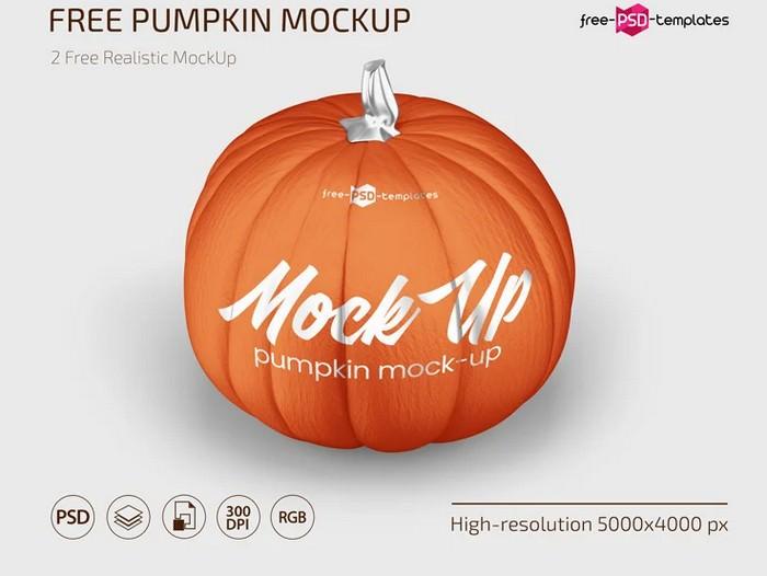 Pumpkin Mockup Set In PSD