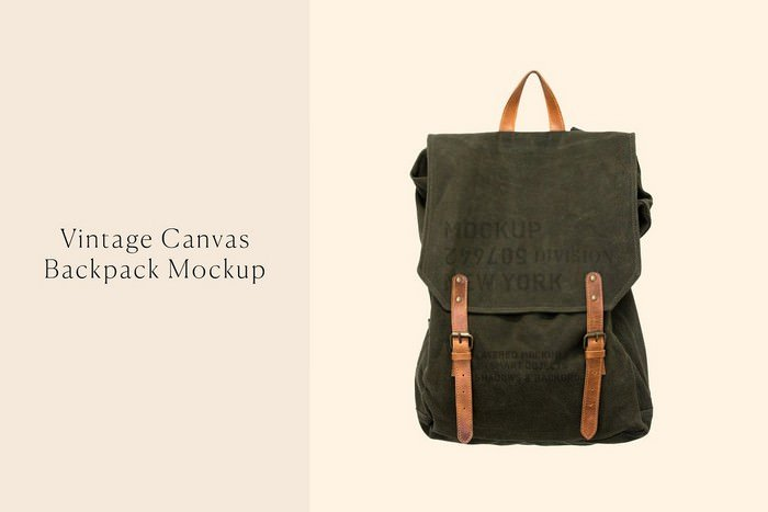 Vintage Canvas Backpack Mockup