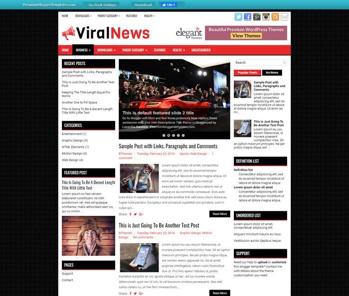 ViralNews Blogger Template