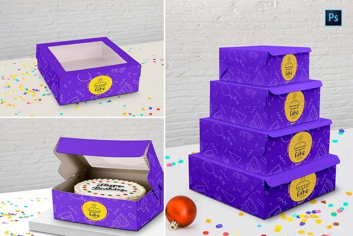 Cake Box PSD Mockup