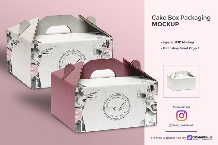 Cake Box Packaging Mockup